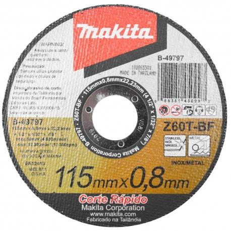 DISCO ABRASIVO DE CORTE 115mm X 0,8mm D-49797.12     MAKITA