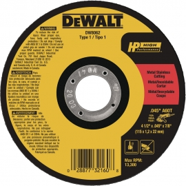 """DISCO DE CORTE INOX 4 1/2"""" X 1.2X7/8 DW8062-AR      DEWALT"""