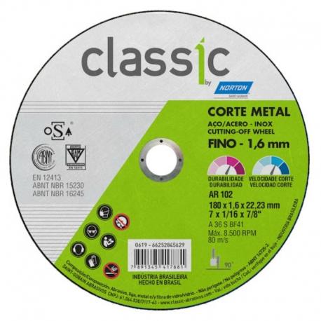 Disco de corte t41 180x1,6x22,23 classic ar102 norton