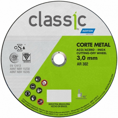 Disco de corte t41 115x3,0x22,23 classic ar302 norton