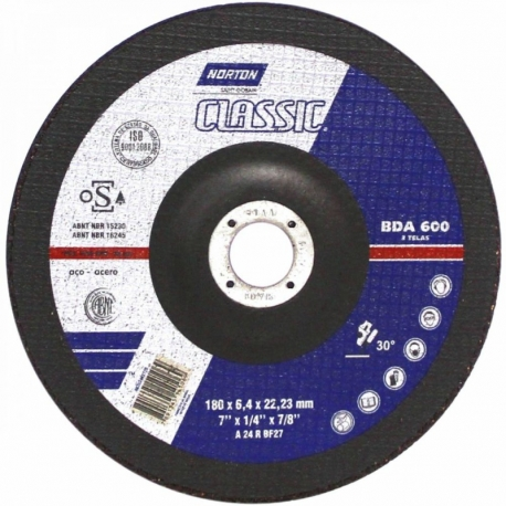 Disco de desbaste t27 180x6,4x22,23 classic bda600 norton