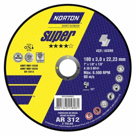 Disco de corte 180x3,0x22,23 super ar312 66252899863 norton